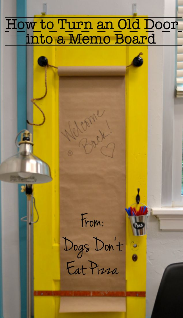 How to turn an old door into a memo board - thediybungalow.com