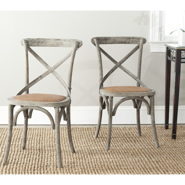 Safavieh-Franklin-X-back-Distressed-Colonial-Grey-Oak-Chairs-dining room chairs - Dogs Don't Eat Pizza