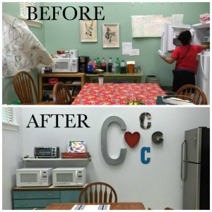 I transformed the teachers' lounge at my kid's school from blah and old to stylish and bright - check out the teachers' lounge renovation - the big reveal - at thediybungalow.com