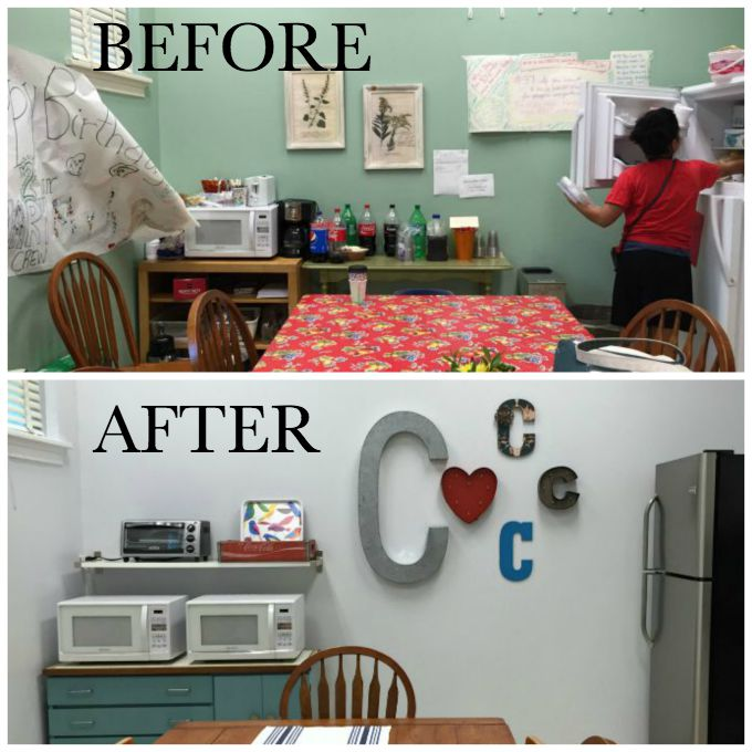 Before and after of the teachers' lounge renovation - the big reveal - thediybungalow.com