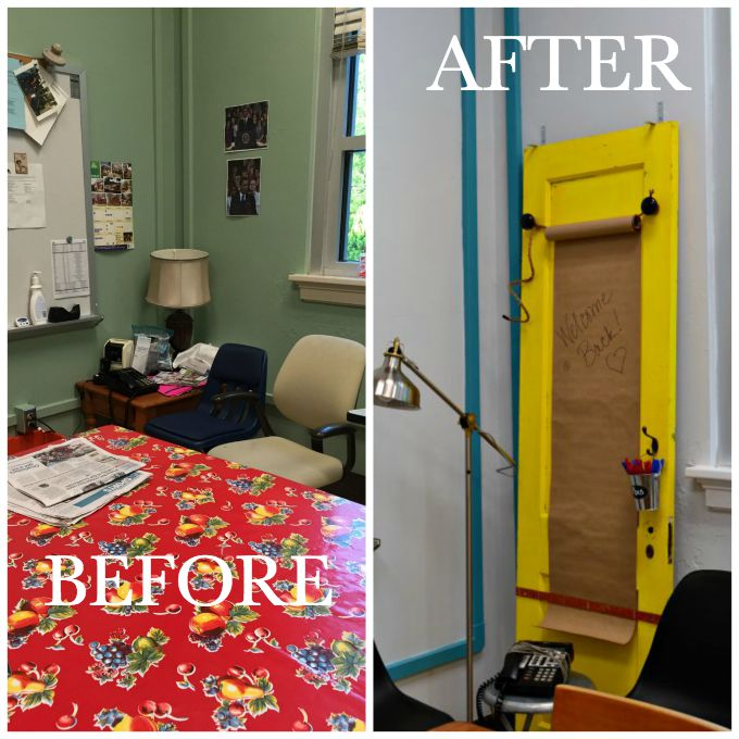 Telephone and message area before and after the teachers' lounge renovation - thediybungalow.com