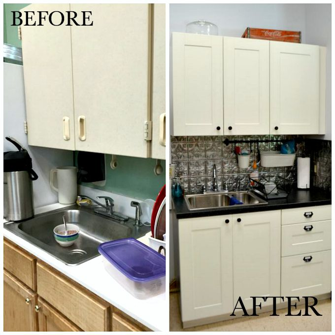 Cabinets and sink area before and after the teachers' lounge renovation - thediybungalow.com