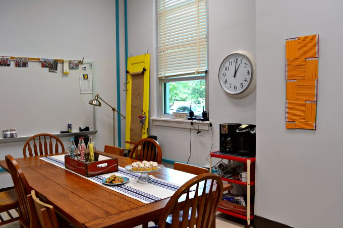 Showcasing the electrical conduit in the teachers' lounge renovation - thediybungalow.com