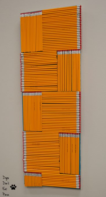 Art made from No. 2 pencils for the teachers' lounge renovation - thediybungalow.com