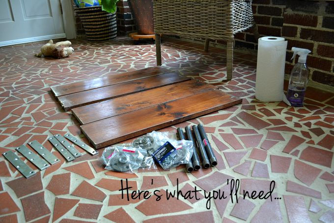 Supplies needed for DIY two-tiered coffee table - Dogs Don't Eat Pizza