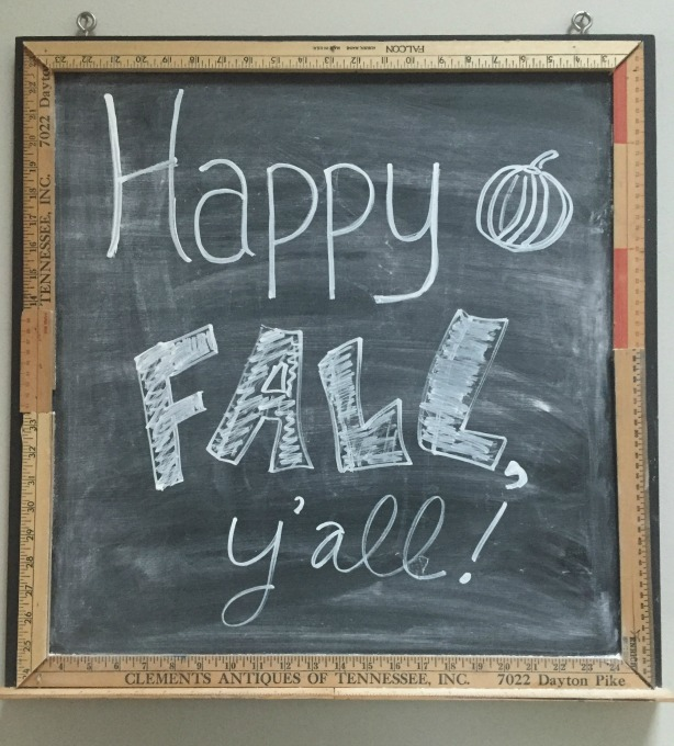 Chalkboard message welcoming fall decorating for fall - thediybungalow.com