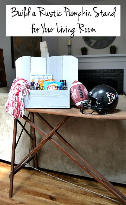 How to build a Rustic Pumpkin Stand for football season for your living room - thediybungalow.com