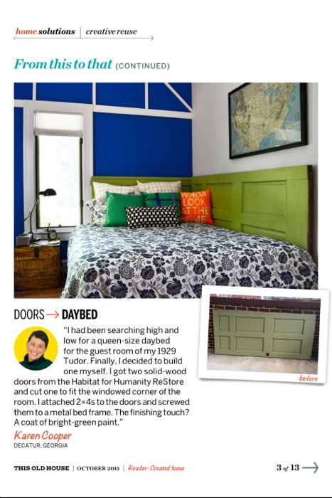 daybed featured in This Old House Magazine - Dogs Don't Eat Pizza