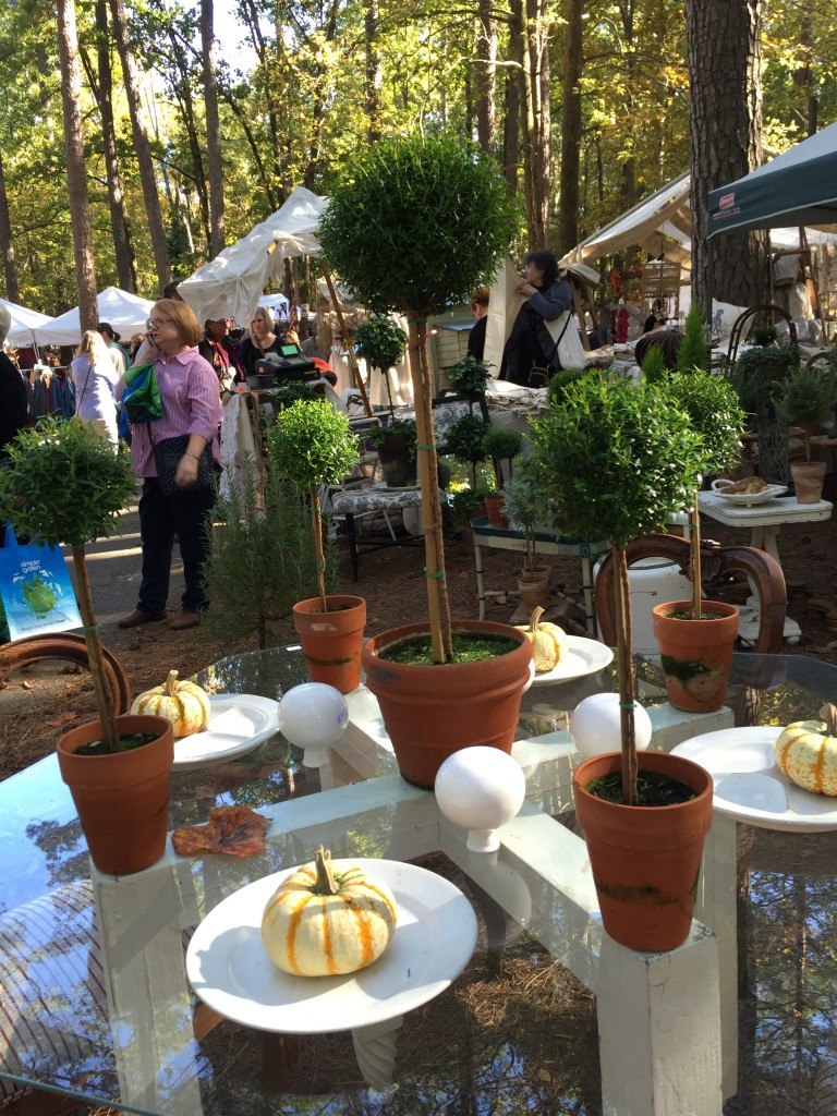 Topiaries on a fall tablescape at the Country Living Fair
