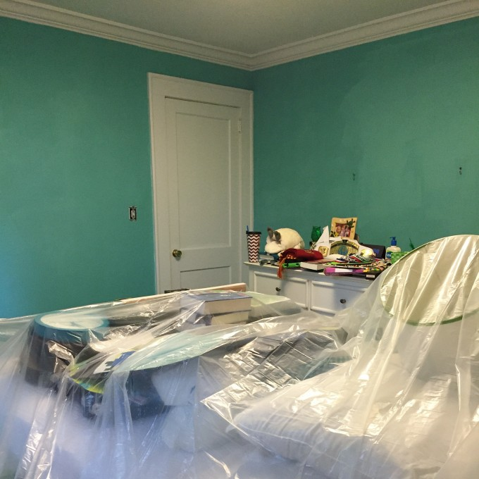 paint color in M's room - Cooled Blue by HGTV Home by Sherwin Williams - thediybungalow.com