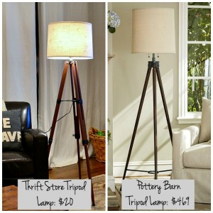 It's easy to make a tripod lamp. Here's how to make one from a surveyors tripod found at a thrift store! / thediybungalow.com