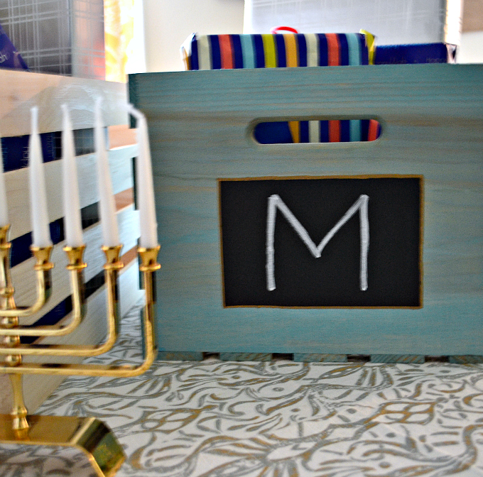 Close up view of Personalized Hanukkah Gift Crate - thediybungalow.com