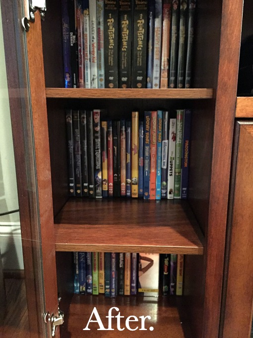DVD organization - family room tidying up - thediybungalow.com