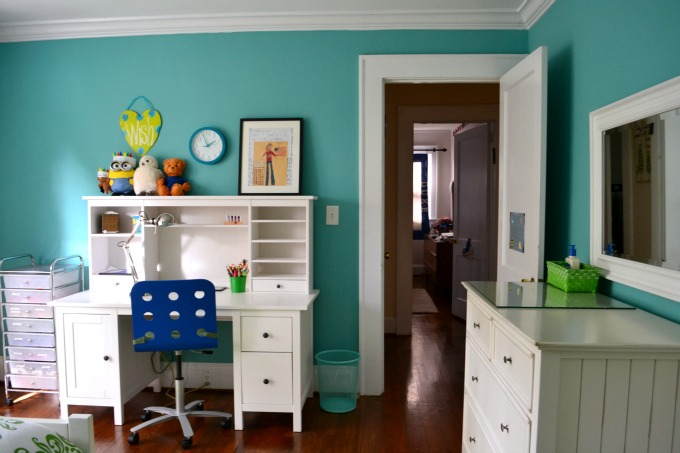 Desk and dresser in my daughter's blue and green bedroom - thediybungalow.com