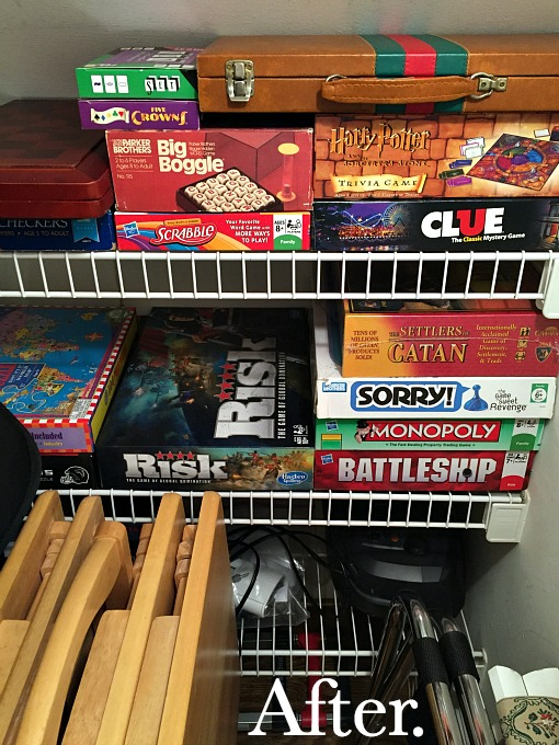 Games in family room closet - family room tidying up - thediybungalow.com