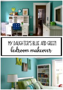 My daughter's blue and green bedroom makeover - thediybungalow.com