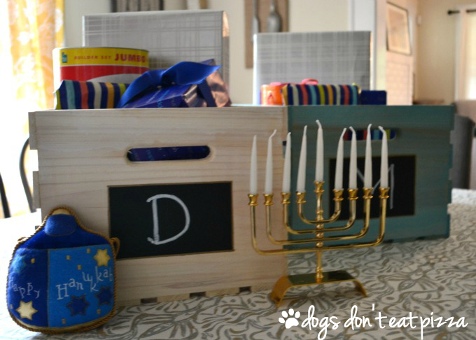Sawdust & Snow Personalized Hanukkah Gift Crate Close Up - thediybungalow.com
