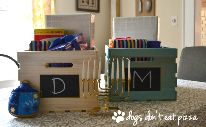 Sawdust & Snow Personalized Hanukkah Gift Crates - thediybungalow.com
