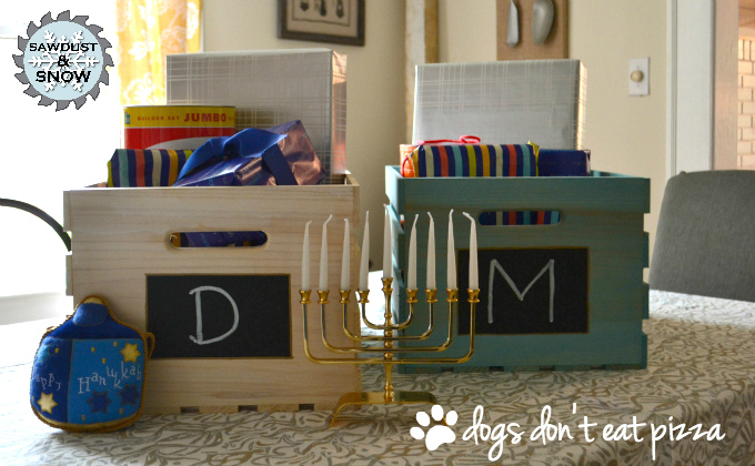Sawdust & Snow Personalized Hanukkah Gift Crates with logo - thediybungalow.com