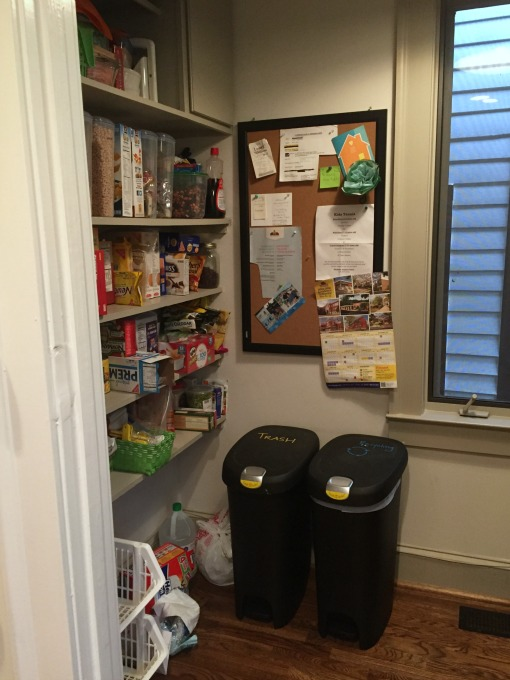Pantry left side and garbage cans out - thediybungalow.com