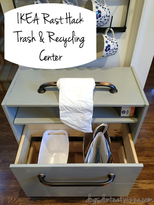 Learn how I made this IKEA Rast Hack Trash and Recycling Center - thediybungalow.com
