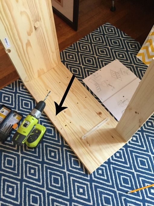 drill hole for new support - IKEA Rast Hack - thediybungalow.com