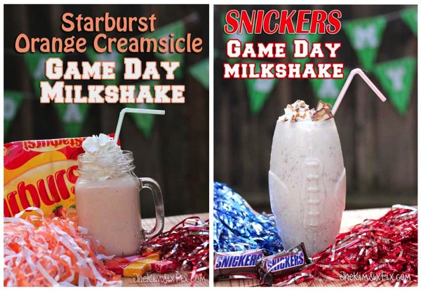 Candy-Milkshakes-with-Snickers-and-Starburst - party ideas for the big game - thediybungalow.com