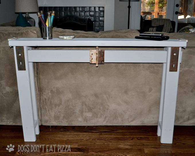 DIY sofa table with vintage door hardware - thediybungalow.com
