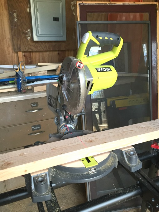 Miter saw in the shed - thediybungalow.com