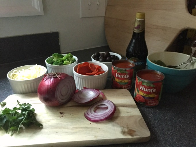 Toppings and sauce for Make-Your-Own Pizza Night - thediybungalow.com
