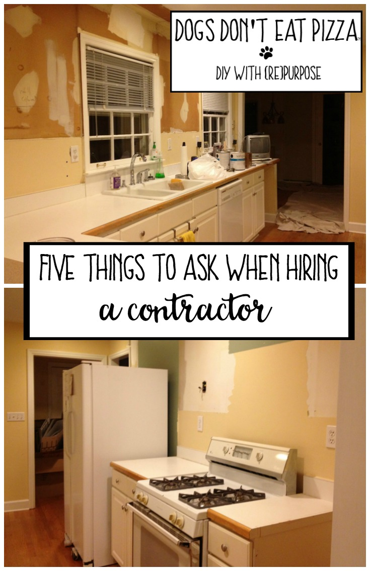 Hiring a contractor can be difficult, but not if you ask the right questions - here are five things to ask when hiring a contractor - thediybungalow.com