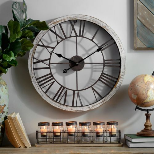 Kirkland's Dawson Industrial Clock - farmhouse look for less - thediybungalow.com