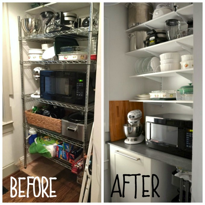 Kitchen Pantry Organized Before and After - thediybungalow.com