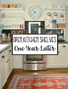 Open Shelving in the Kitchen One Year Later - thediybungalow.com