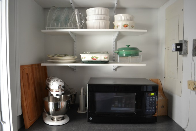 Pantry shelves and counter - thediybungalow.com