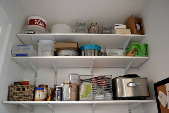Top shelves of pantry for lesser used items - thediybungalow.com