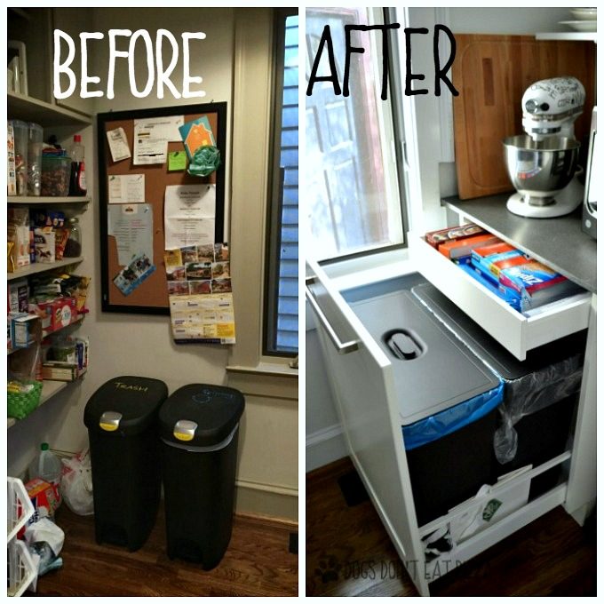 Trash and recycling before and after - thediybungalow.com