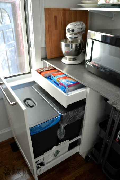Trash and recycling cabinet in renovated pantry - thediybungalow.com