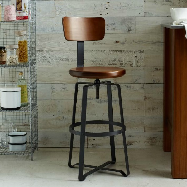 West Elm adjustable-rustic-industrial-stool - farmhouse look for less - thediybungalow.com
