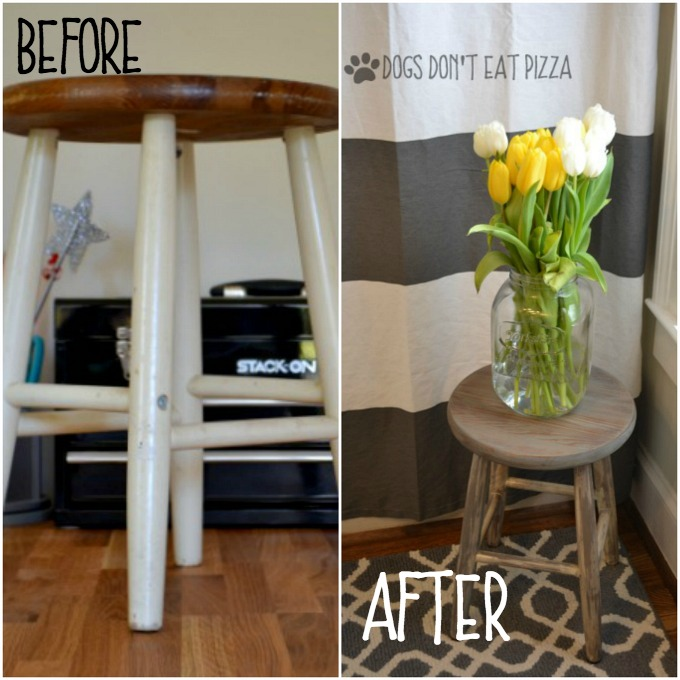 before and after farmhouse stool - Rust-Oleum 10 dollar thrift store challenge - thediybungalow.com