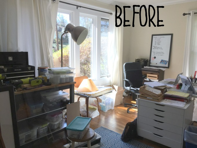 Before picture of home office - organized home office - thediybungalow.com