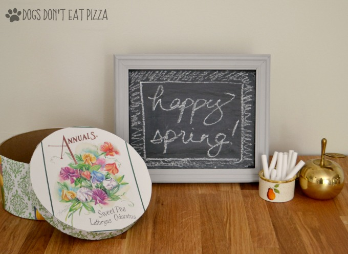 Vintage style chalkboard with chalk tin, apple, decoupaged hat box - Swap It Like It's Hot - thediybungalow.com