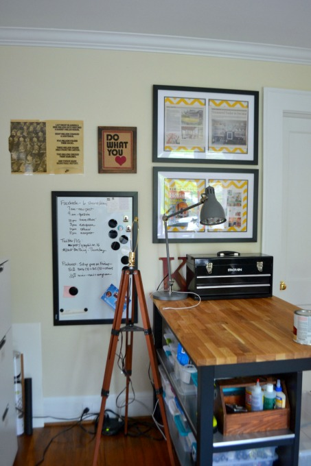 White board mounted near work table - organized home office - thediybungalow.com