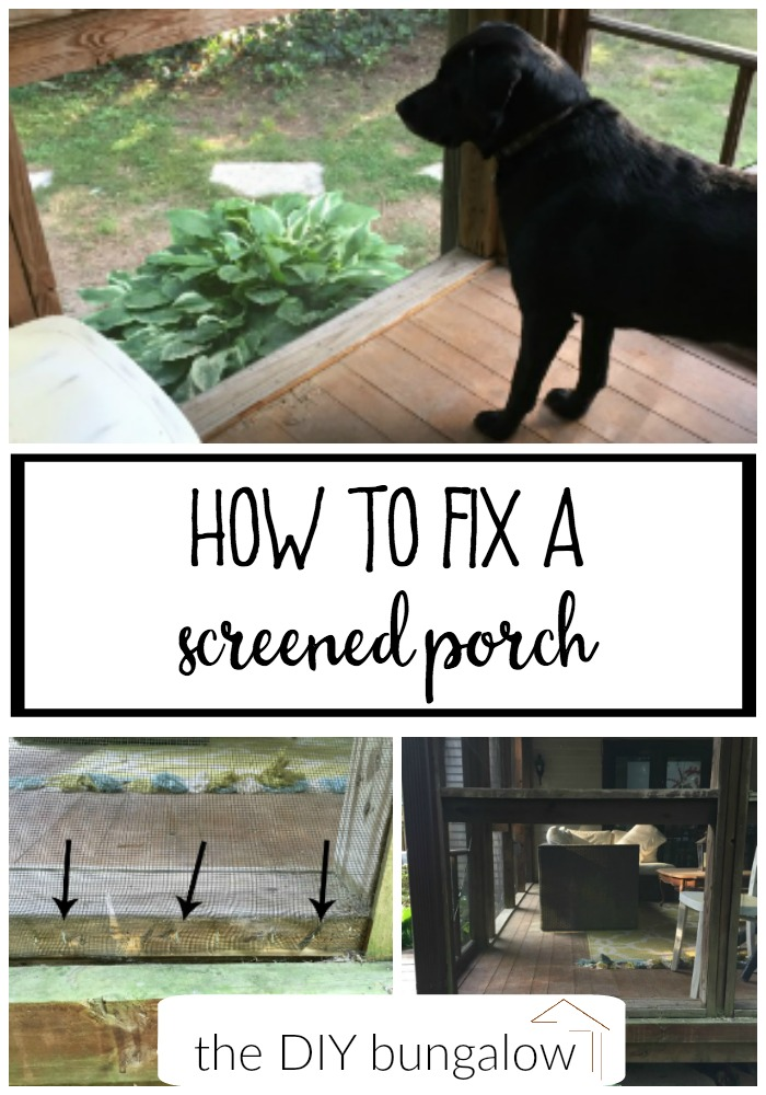 What happens if your dog (or kid) runs through your screened porch? Here's how to fix a screened porch, plus find more DIY and outdoor projects at thediybungalow.com
