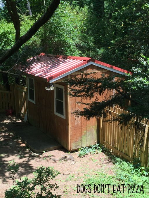 New red metal roof on shed - tool storage and shed inspiration - thediybungalow.com