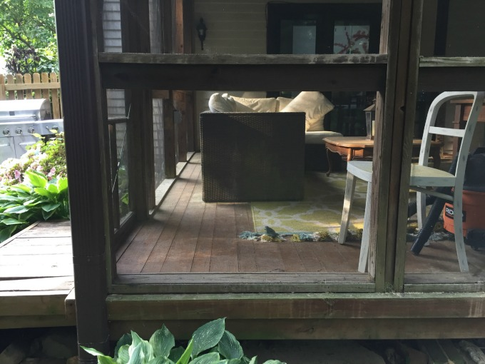 Reattach the trim to complete how to fix a screened porch - thediybungalow.com
