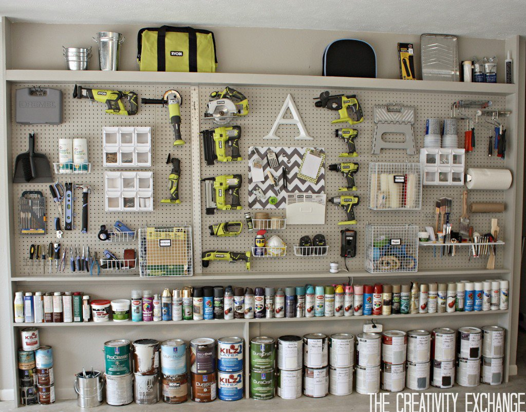 The Creativity Exchange DIY-Garage-Pegboard-Storage-Wall - tool storage shed inspiration - thediybungalow.com
