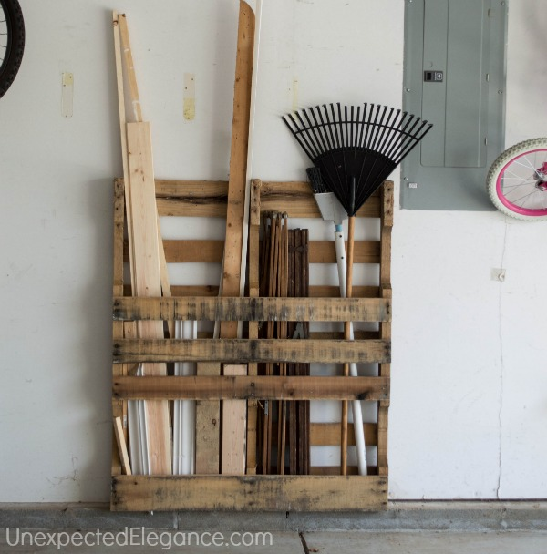 Unexpected Elegance Pallet to organize wood pieces - tool storage shed inspiration - thediybungalow.com