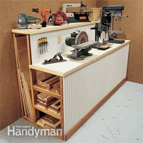 Workbench with built-in wood storage - tool storage shed inspiration - thediybungalow.com