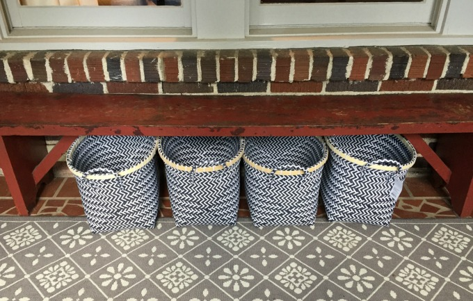 Front Porch Organization - baskets - thediybungalow.com